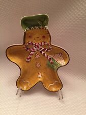 Laurie Gates HOLIDAY TREATS Gingerbread Man Candy Dish Snack Plate EUC