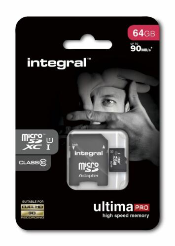 64GB Micro SDXC Memory Card - Fast Class 10 UHS-I U1 90MB/s with SD Adapter.