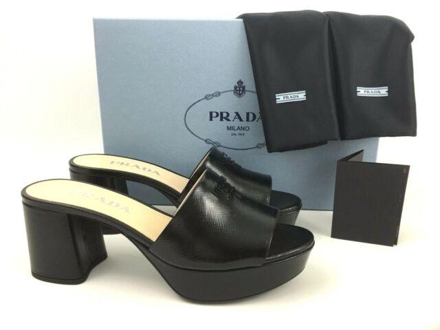 Sz.36.5 PRADA Logo Block Heel Platform Mule Slide Sandal Black Saffiano Leather