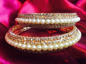 e8ebab4ad0d2a 2.6 Med 1 Pair Bollywood Gold Bracelets White Pearls Bangles Indian ...