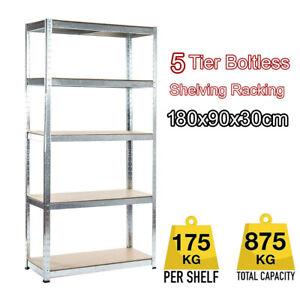 5Tier-Boltless-Garage-Storage-Shelving-Steel-Racking-Galvanised-180x90x30cm-UKES