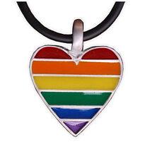 Pride Shack - Pewter Rainbow Flag Heart Pendant Lesbian Gay Pride LGBT Necklace