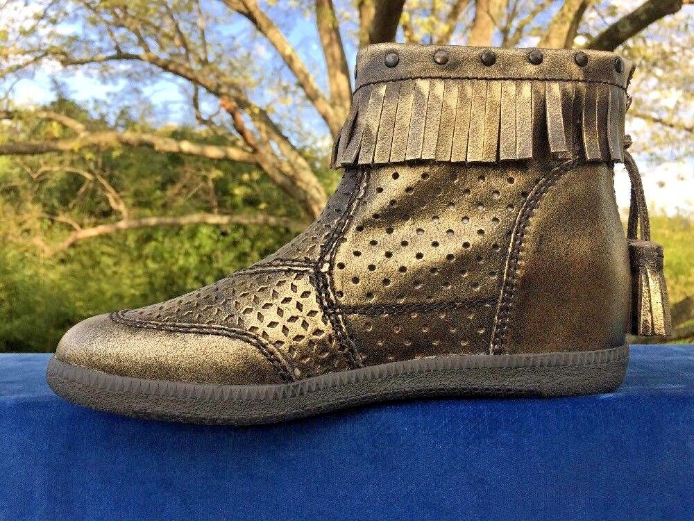 OTBT Stanton gold Moccasins Moccasins Moccasins Fringe Zip Leather Indian Pow Wow Boots Women Size 6 dbb29a