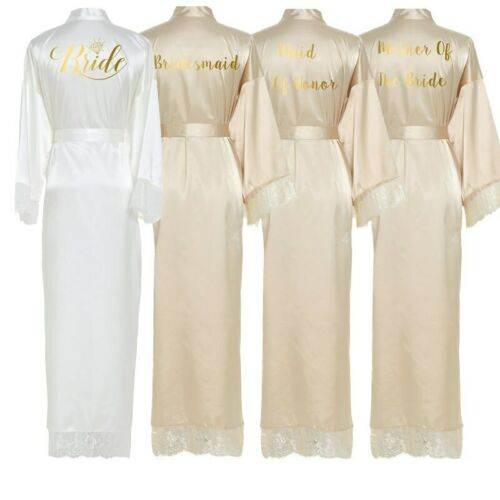 Silk Satin Lace Robes White Bridesmaid Bride Robes Wedding Long Robe Bathrobe