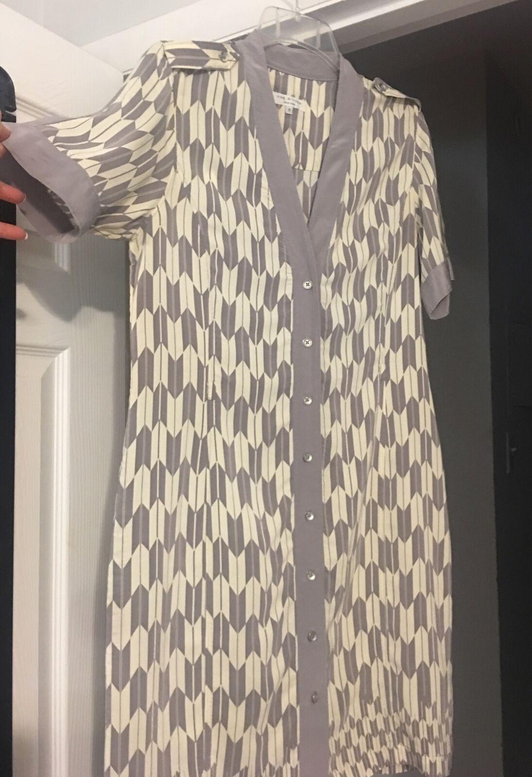Rag And Bone Dress Gray Taupe Cream Silk Short Sl… - image 2
