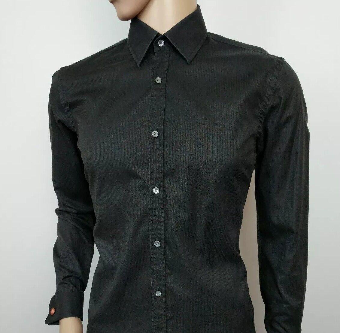 2ba9ab47cc96e Hugo Boss Camisa Para hombres Calce Ajustado Negro Doble 39 Puño de 15.5 -  39 Doble negro ...