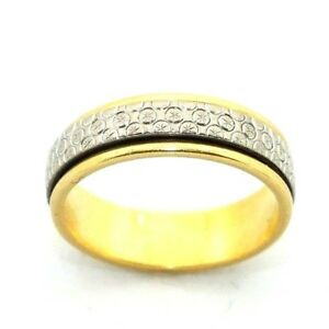 Ladies Womens 18ct 18carat Two Tone Gold Rotating Wedding Band Ring