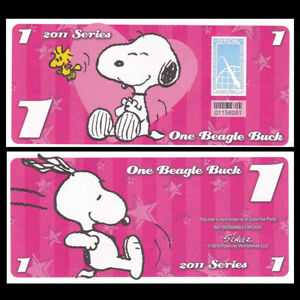 "2016 /""Peanuts Snoopy/"" Like Disney Dollar Cedar Fair 5 Beagle Bucks"