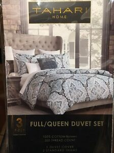 Details about NEW Tahari Full/Queen Duvet 3pc Set Sea Foam Blue Teal Silver  Gray Medallion