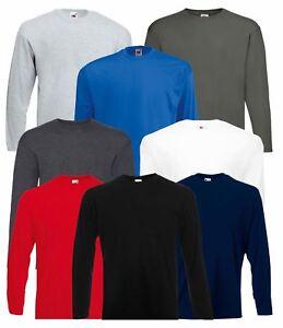 Men-039-s-Fruit-of-the-Loom-Long-Sleeve-T-Shirt-Plain-Tee-Shirt-Top-Cotton-S-5XL