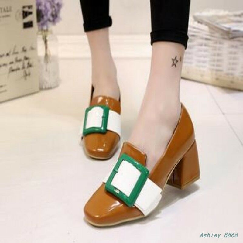 2018 Womens Block Mid Heels Pumps Slip On Loafers Fashion Leisure shoes Summer