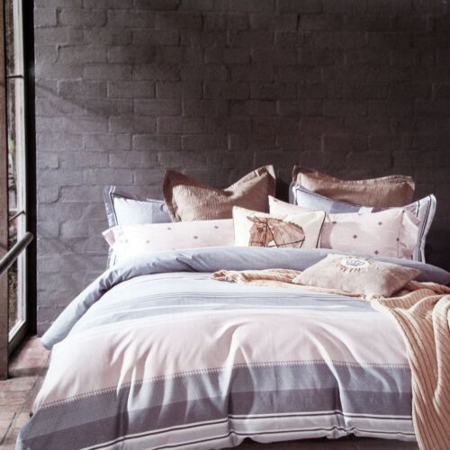 3 Pce 250TC Pure Cotton Quilt Doona Duvet Cover Set QUEEN KING