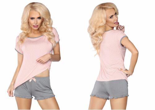 Damen Pyjama im Pünktchendesign Kurz Elegant Nachtwäsche LIVIA 103 S//M L//XL