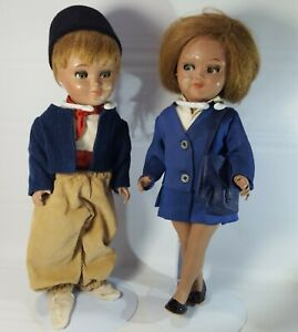 Vintage-Doll-Celluloid-Hard-Plastic-Dutch-Girl-Boy-Set-Sleepy-Eyes-Jointed-12in