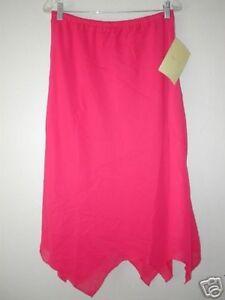 Large-DIALOGUE-Georgette-Asymmetrical-Handkerchief-Skirt-QVC-A54107-L-Pink