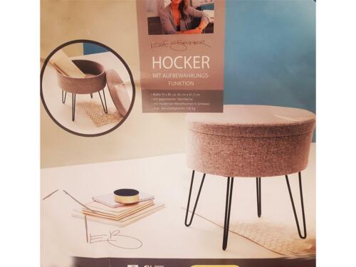 ca 41,5×45 cm GRAU Hocker Sitzhocker Polsterhocker Badhocker rund Ø×H