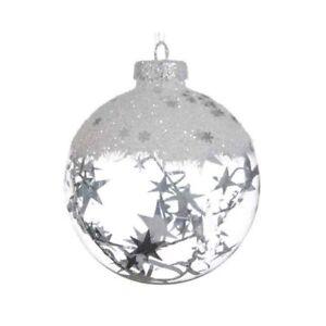 Palline Natale.Dettagli Su 3 Palle Sfere Di Natale Decorazione Natalizia Albero Palline Decorate Bianche
