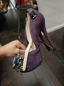 Enzo-Angiolini-Size-4-THADDEA-Black-Suede-Feather-amp-Jewel-Pumps-Plum-Purple