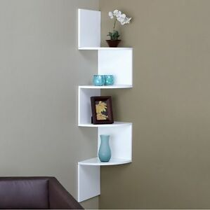 Image Is Loading White Zig Zag Corner Wall Shelf Bedroom Living