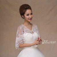 Bridal Wedding Lace Shrug Wrap Shawl Jacket With Sequin Bead One Size Ivory