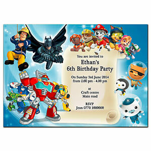 Image Is Loading I073 Personalised Invitations Paw Patrol Rescue Bots Batman