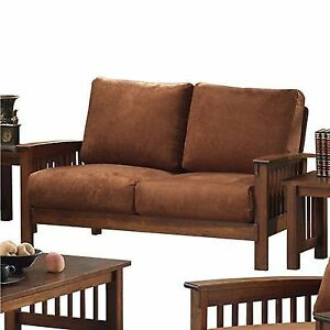 Tribecca Home Hills Mission Style Oak And Rust Loveseat Furniture
