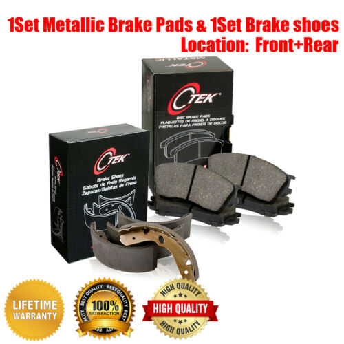 Front /& Rear Metallic Brake Pads /& Brake shoes 2SET For Ford Transit Connect