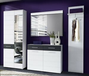 garderobe 4 tlg set schuhschrank kommode spiegel paneel. Black Bedroom Furniture Sets. Home Design Ideas