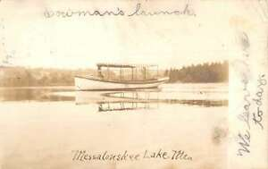 Messalonskee Lake Maine River Boat Real Photo Antique Postcard K60082