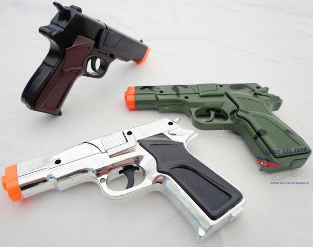 Military 9MM Pistol Cap Guns Snub Nose Clicker w// Holster 2XToy Guns BLACK