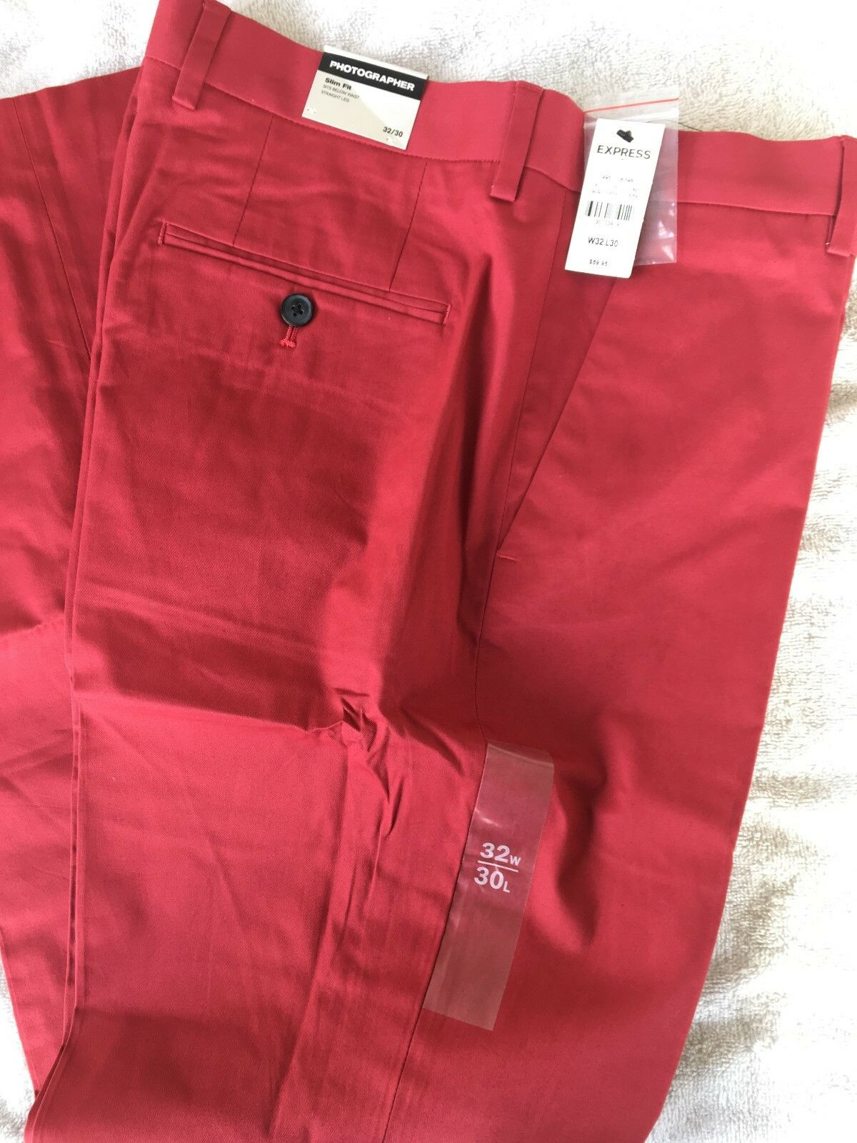 Express Photographer Pants Mens - 32x30 - Coral Red - Slim Fit - NWT