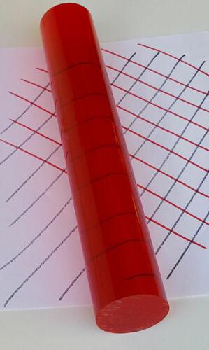 """5 7//8/"""" LONG 2"""" DIAMETER 50.8mm CLEAR RED ACRYLIC PLEXIGLASS LUCITE ROD 6"""" INCH"""
