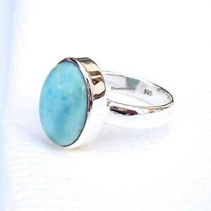 Larimar Stone Ring Minimalist Larimar stretchy ring Sterling Silver under 20