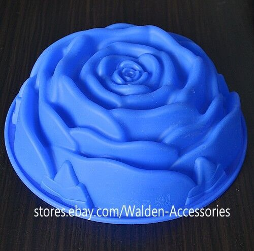"9"" BIG Silicone Rose Flower Baking Cake Pan Mold Mould Bakeware 134"