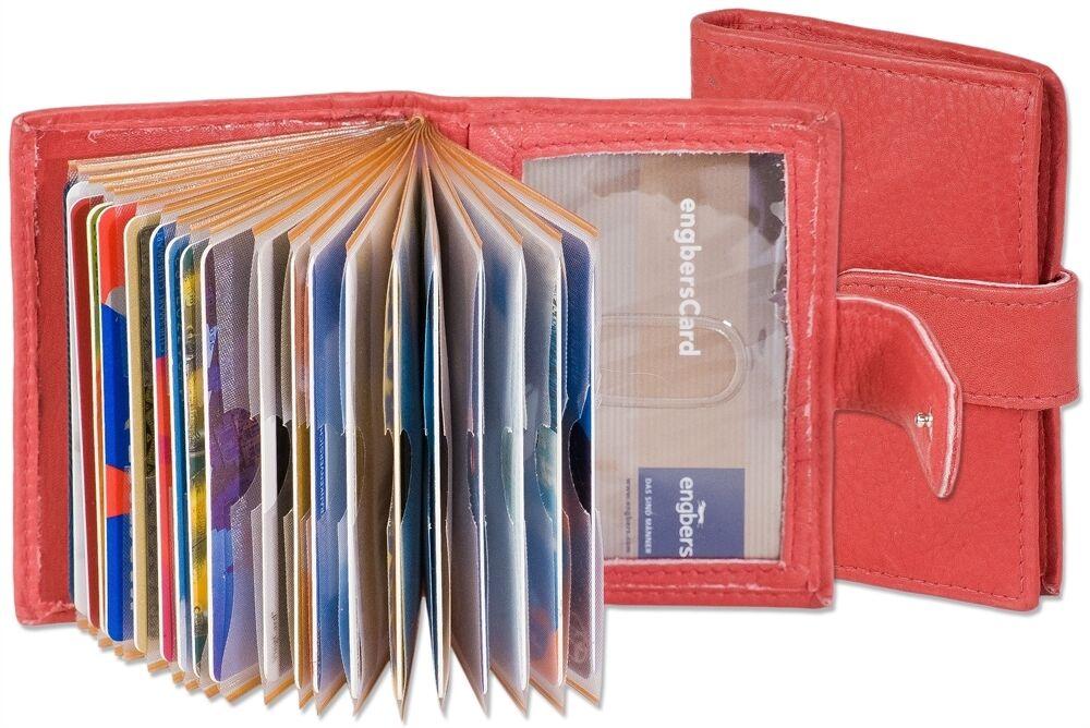 + Rinaldo - XXL-Kreditkartenetui für 19 Karten aus Kalbsleder - rot