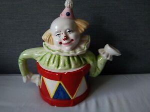 Vintage-Leaonardo-Clown-Drum-Teapot-Ornamental-Display-Only