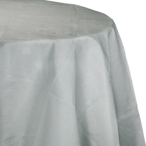 Silver 2//Ply Paper-Poly Round Tablecloth 82/""