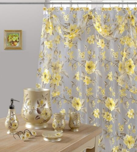 8Pcs Melarosa Yellow High Quality Scarf Sheer shower Curtain set+ Window Curtain