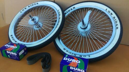 *LOWRIDER LOGO 16x1.75 Brick Pattern White Wall Tires Tubes BMX Wheels 68 Spoke