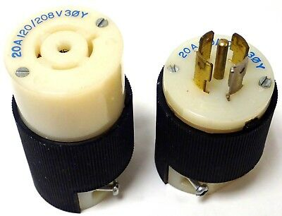 HUBBELL HBL7411C TWIST-LOCK Connector 3P 4W 20A 120//208V