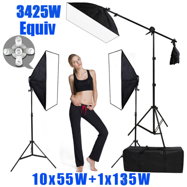 Photo Studio Continuous Softbox Lighting Boom Video Soft Box Light Stand Kit AU
