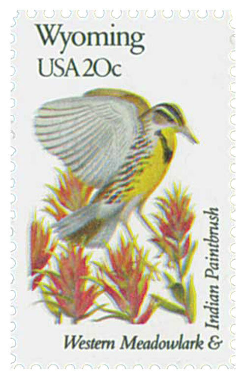 1982 20c State Birds & Flowers, Wyoming, Indian Paintbr