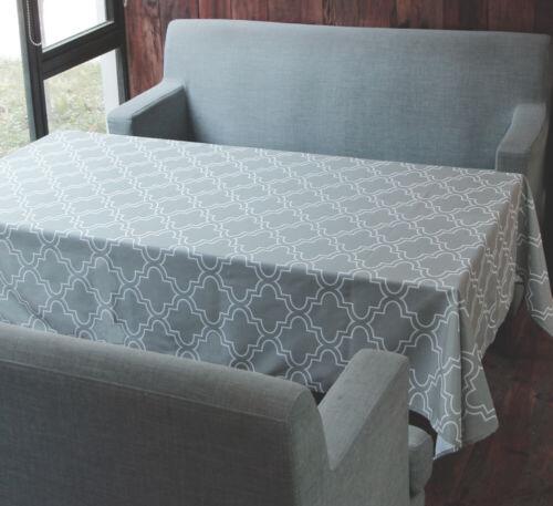 "Tektrum 60/""X102/"" Rectangular Moroccan Quatrefoil Tablecloth-Stain Resistant-Grey"