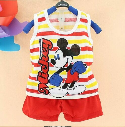 Set Baby Kids Boys Clothes Cotton Summer Mickey Top Tank+Short Pants Outfit Cute