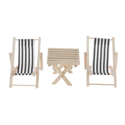 3pcs 1//6 Miniatur Black Stripe Beach Chair mit Tabelle Dollhouse Zubehör
