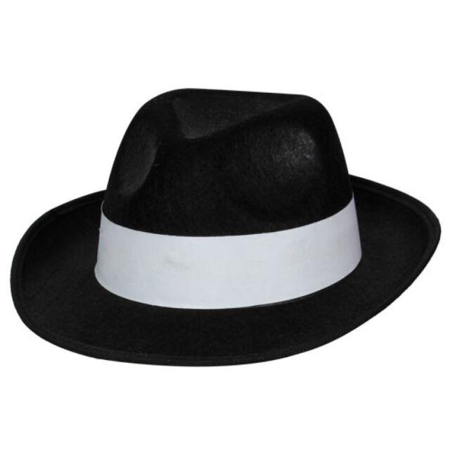 Wicked - Cappello da Gangster in Feltro per adulto con Fascia bianca ... b96dc5518288