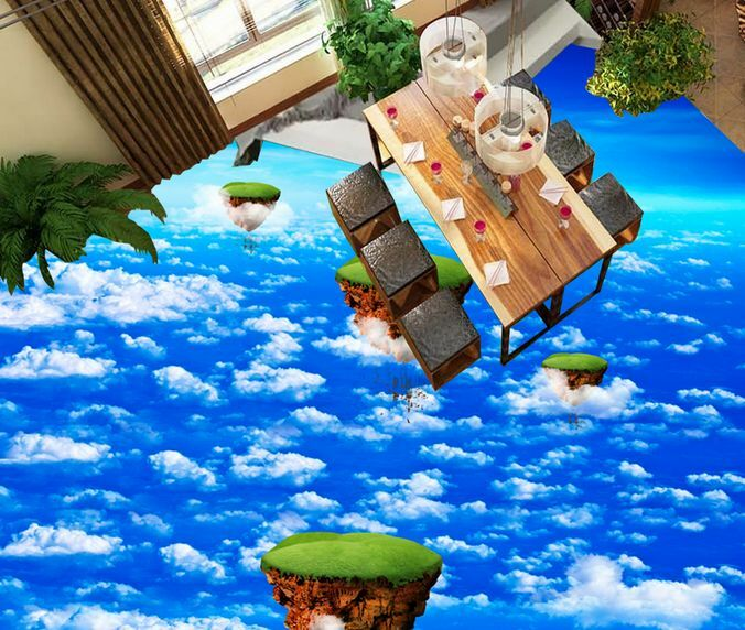 3D Ciel Nuage Fond d'écran étage Peint en Autocollant Murale Plafond Chambre Art