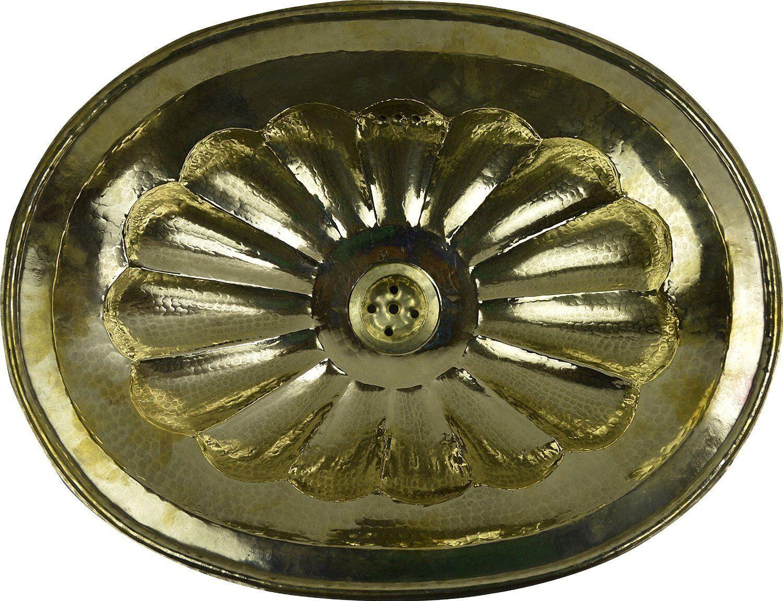 Or ovale en cuivre fait main marocain bathroom sink basin, moulé