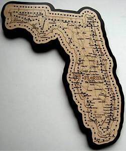 Florida State Road Map.Florida State Shape Road Map Cribbage Board Ebay