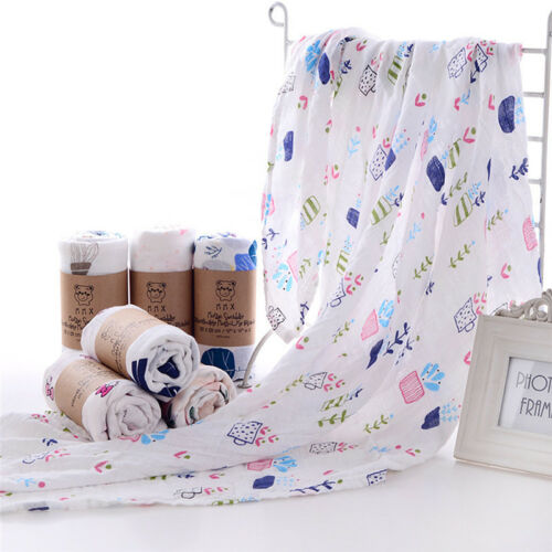 Comfort Bamboo Fiber Kids Baby Swaddle Blanket Wrap 6 Different Styles Colorful